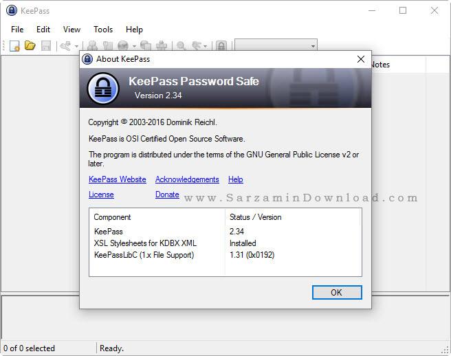 نرم افزار مدیریت و  نگهداری از پسورد - KeePass Password Safe 2.34