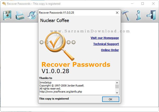 نرم افزار نشان دادن سریال نرم افزار ها - Nuclear Coffee Recover Passwords 1.0.0.28