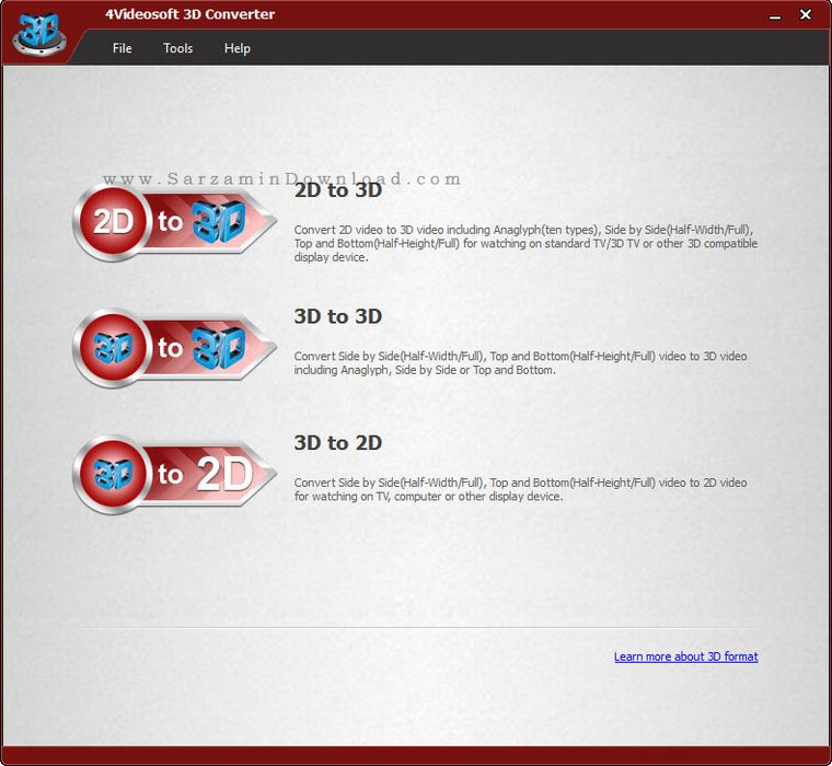 نرم افزار تبدیل ویدیو های 2 بعدی به 3 بعدی و بالعکس - 4Videosoft 3D Converter 5.1.72