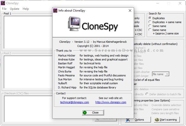 نرم افزار حرفه ای حذف فایل های تکراری - CloneSpy 3.12