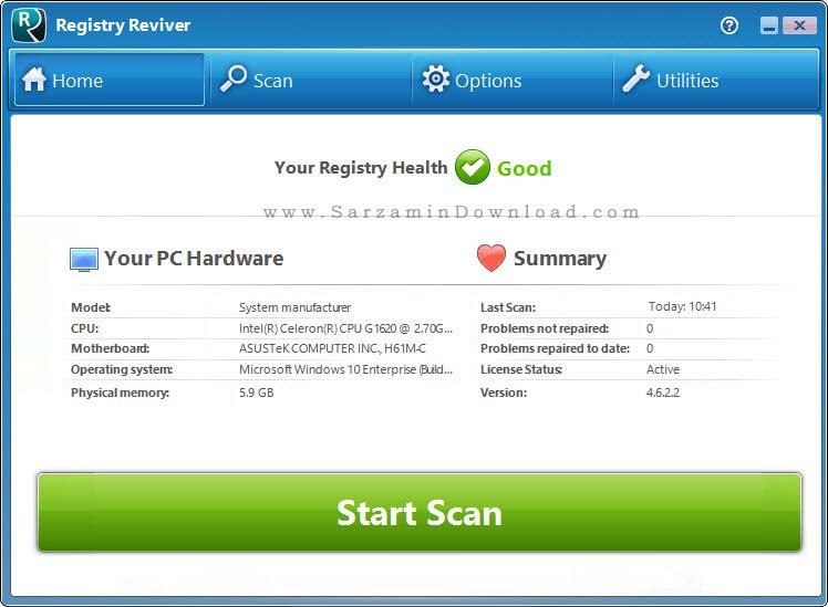 نرم افزار پاک کننده رجیستری ویندوز - Registry Reviver 4.6.2.2
