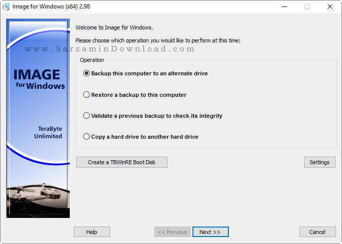 نرم افزار بکاپ گیری از ویندوز - TeraByte Unlimited Image For Windows 2.98