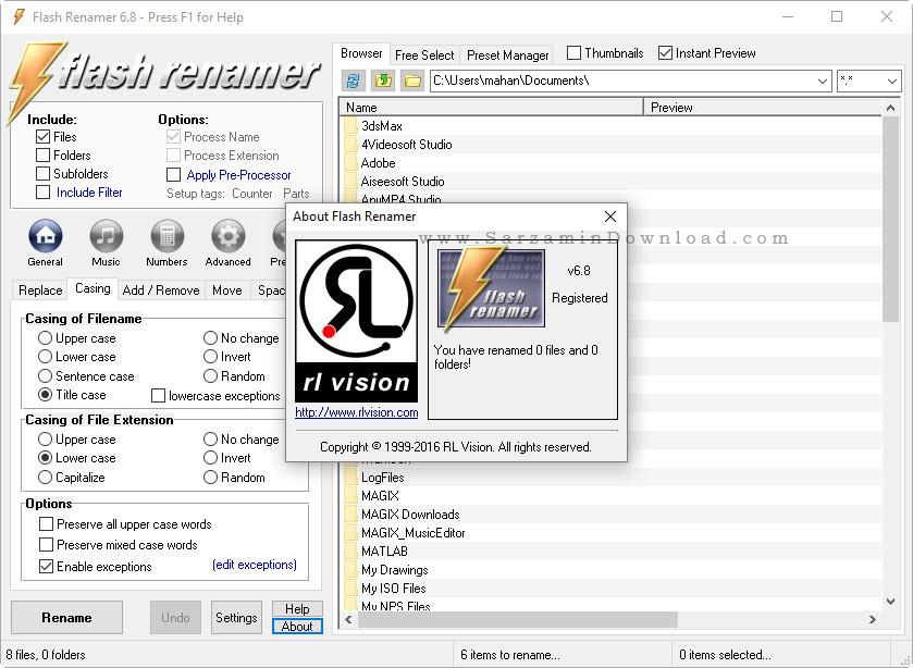 نرم افزار تغییر نام گروهی فایل ها - Flash Renamer 6.8