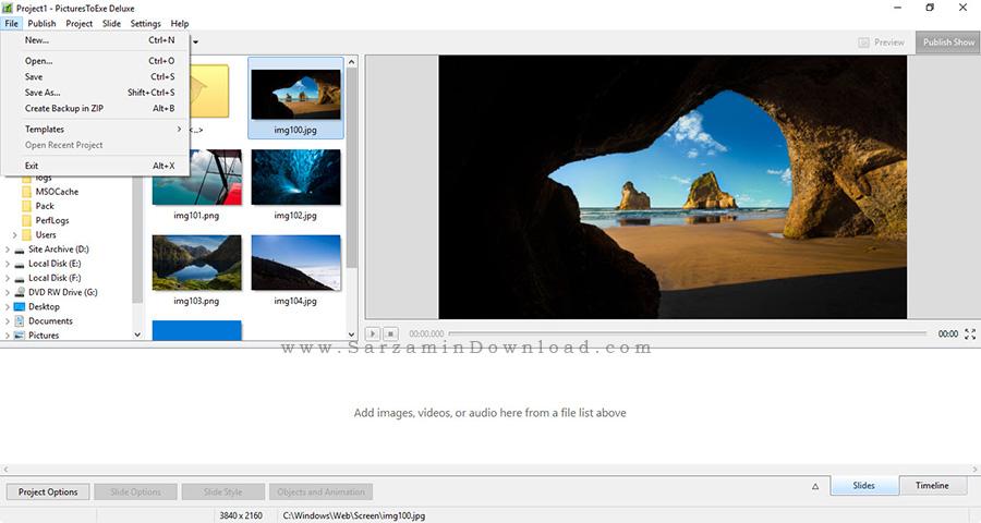 نرم افزار ساده نمایش اسلاید عکس - PicturesToExe Deluxe 8