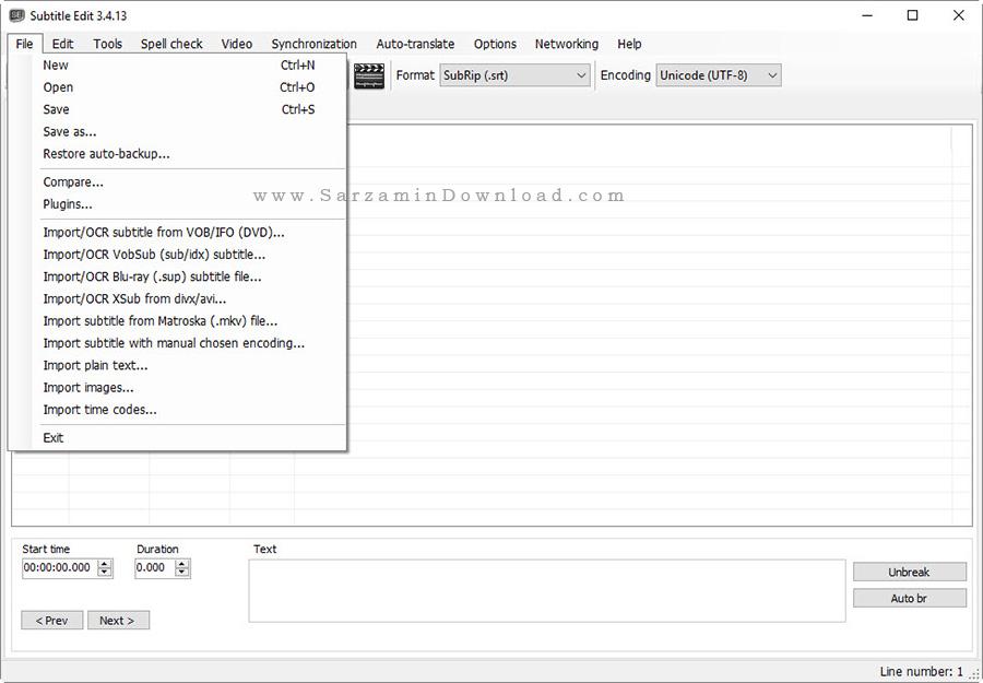 نرم افزار تنظیم زیرنویس فیلم - Subtitle Edit 3.4.13