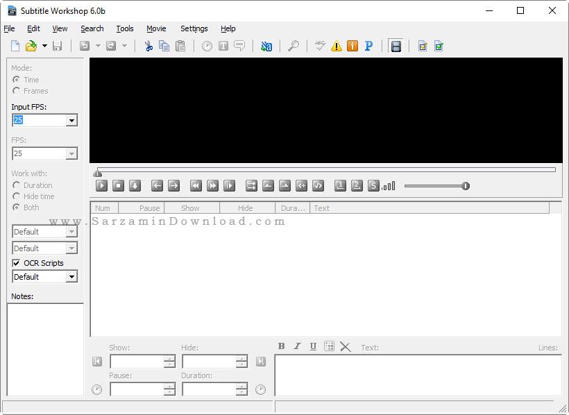 نرم افزار تنظیم زیرنویس فیلم - Subtitle Workshop 6