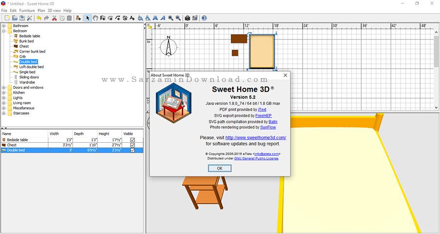 نرم افزار دکوراسیون خانه - Sweet Home 3D 5.2
