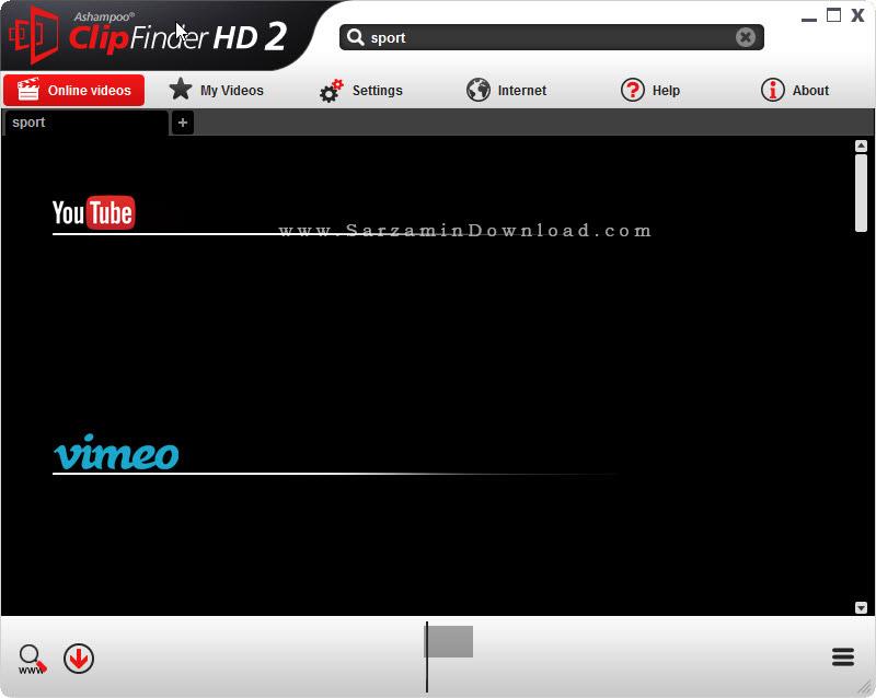 نرم افزار جستجوی فیلم در اینترنت - Ashampoo ClipFinder HD 2.48