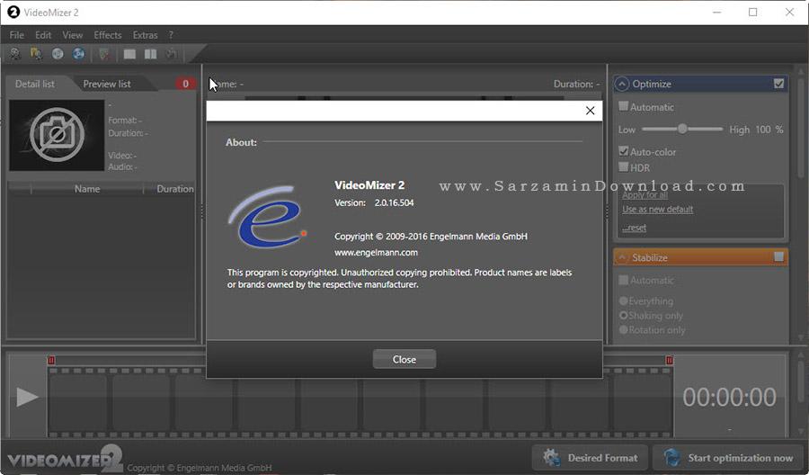 نرم افزار شفاف سازی فیلم - Engelmann Media Videomizer 2.0.16
