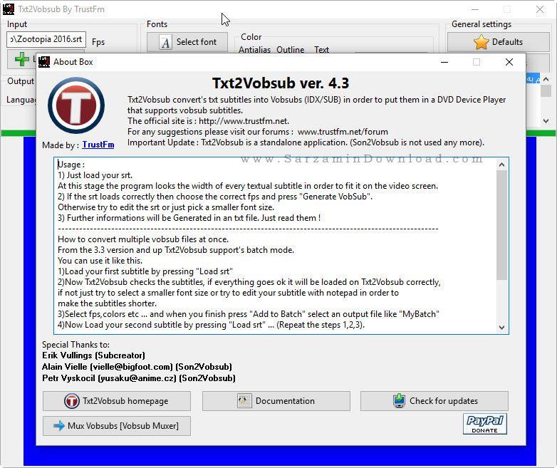 نرم افزار تبدیل فرمت زیرنویس - Txt2VobSub 4.3