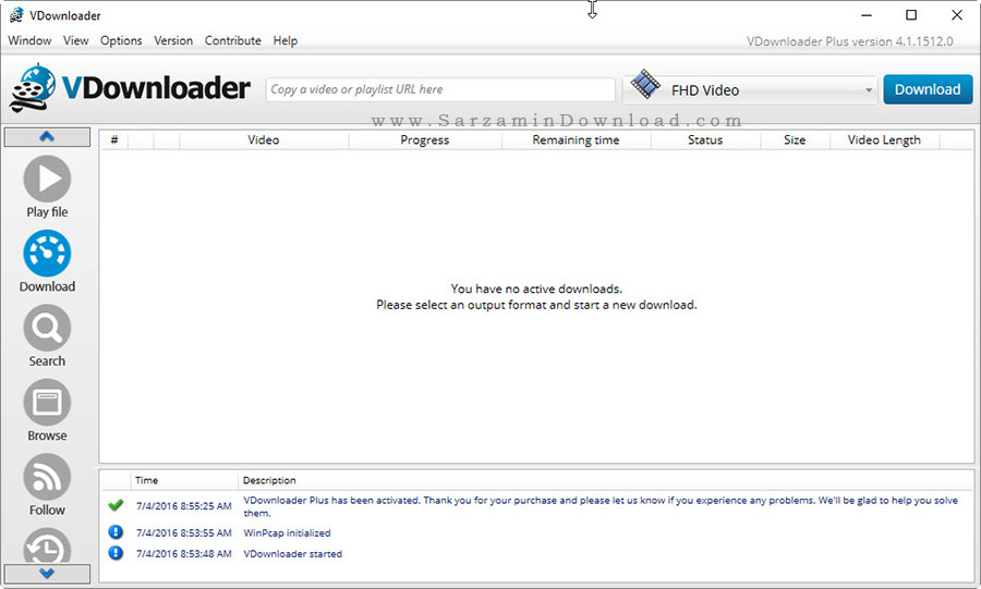 نرم افزار دانلود فیلم های آنلاین - VDownloader Plus 4.1.15