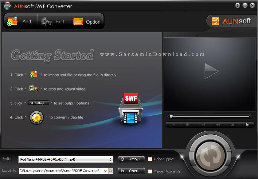 نرم افزار تبدیل فایل فلش به فیلم - Aunsoft SWF Converter 2.0.2