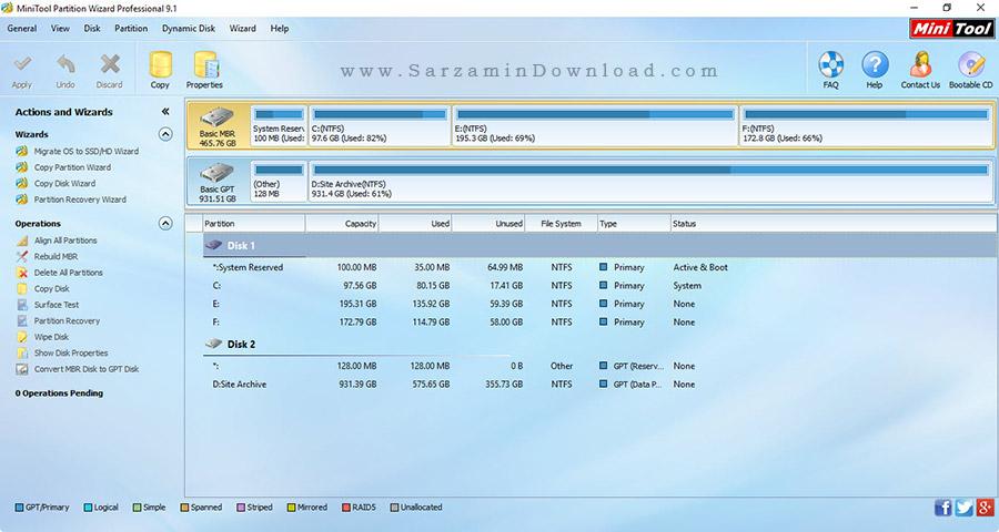 نرم افزار پارتیشن بندی - MiniTool Partition Wizard Pro 9.1