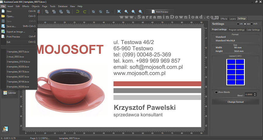 نرم افزار طراحی کارت ویزیت - Mojosoft Software Business Cards MX 5