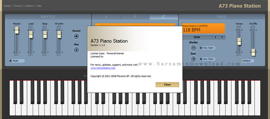 نرم افزار شبیه ساز پیانو - A73 Piano Station 1.1