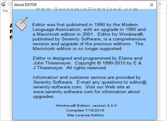 نرم افزار غلط یاب متون انگلیسی - Serenity Editor 5
