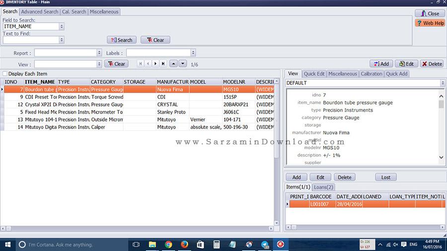 نرم افزار کالیبره کردن ابزار های اندازه گیری - Handy Calibration Manager 1.0
