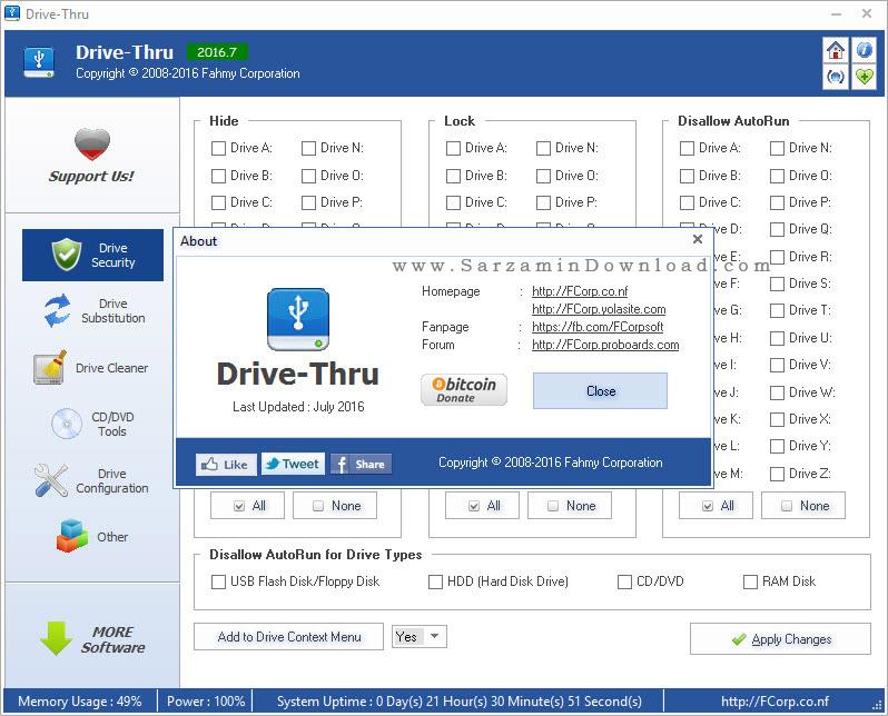نرم افزار مخفی سازی و قفل کردن درایو ها - Drive-Thru 2016