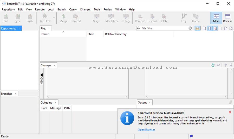 نرم افزار مدیریت پروژه ها بدون محیط کامند - SmartGit 7.1