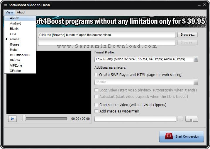 نرم افزار تبدیل فایل های ویدیویی به فلش - Soft4Boost Video to Flash 4.9