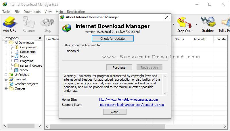 نرم افزار مدیریت دانلود - Internet Download Manager 6.25 Build 24