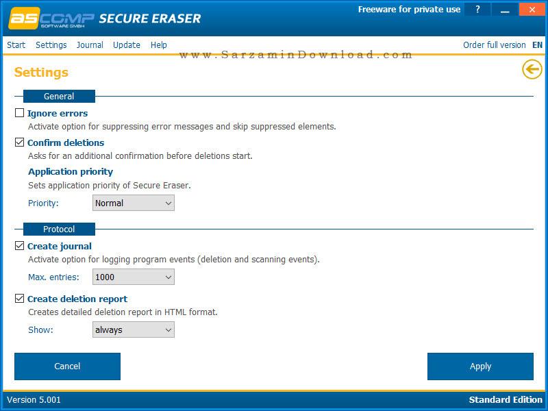 نرم افزار حذف ایمن فایل ها و فولدر ها - Secure Eraser Standard Edition 5
