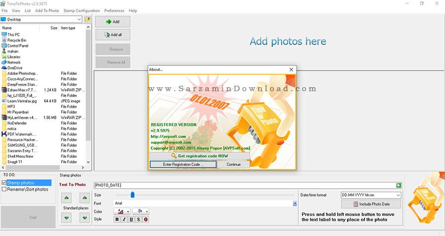 نرم افزار ثبت تاریخ بر روی عکس ها - TimeToPhoto 2.9.5