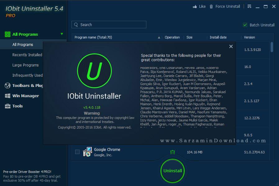 نرم افزار حذف برنامه ها از ویندوز - IObit Uninstaller Pro 5.4.0.11