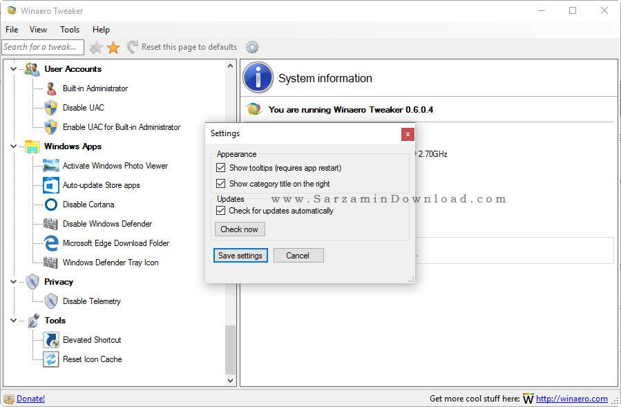 نرم افزار شخصی سازی و اعمال تغییرات دلخواه در ویندوز - Winaero Tweaker 0.6