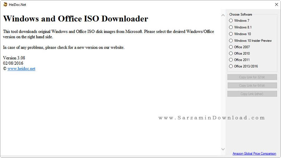 نرم افزار دانلود فایل ISO ویندوز های مایکروسافت - Windows ISO Downloader 3.0.8
