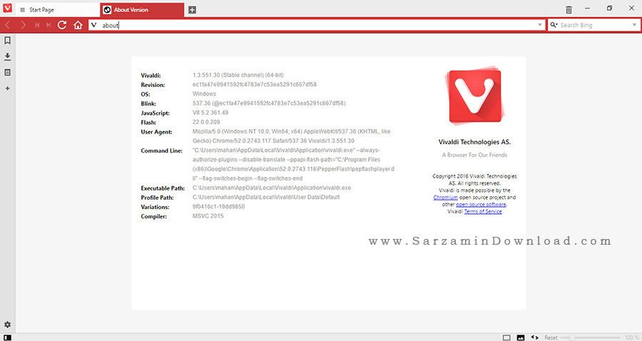 مرورگر ویوالدی - Vivaldi 1.3.551