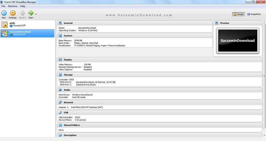 نرم افزار کامپیوتر مجازی - با قابلیت نصب چندین سیستم عامل - VirtualBox 5.1.12