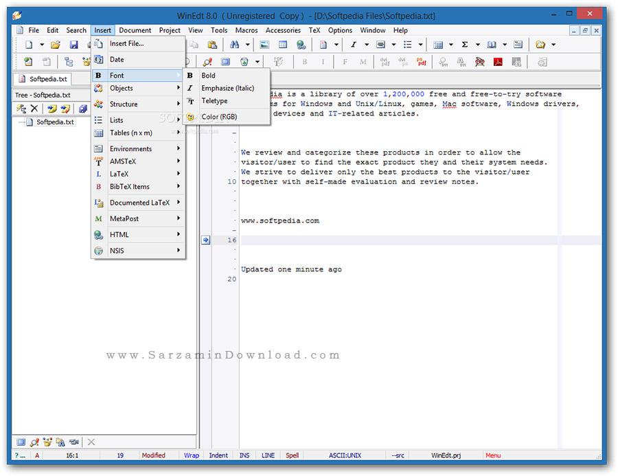 نرم افزار حرفه ای ویرایشگر متن (برای ویندوز) - WinEdt 10.2 Build 20170413 Windows