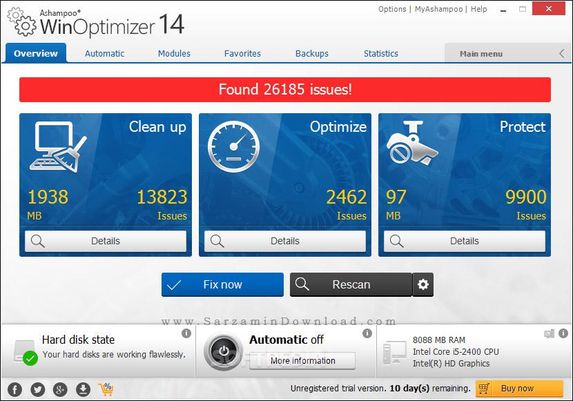 نرم افزار بهینه سازی ویندوز (برای ویندوز) - Ashampoo WinOptimizer 15.00.05 Windows