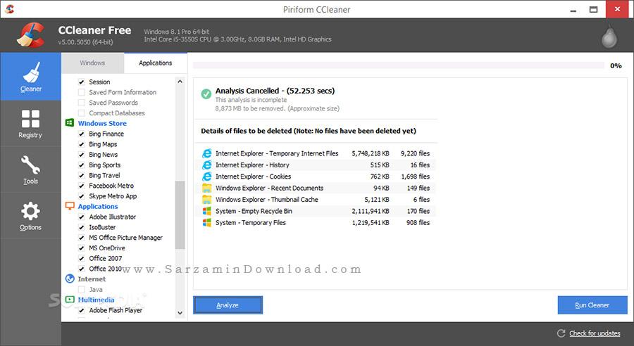 نرم افزار بهینه سازی و افزایش سرعت کامپیوتر (برای ویندوز) - CCleaner Technician 5.34.6207 Windows