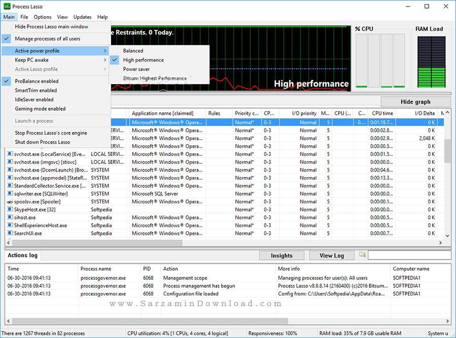 نرم افزار افزایش سرعت CPU سیستم (برای ویندوز) - Process Lasso Pro 9.0.0.402 Windows