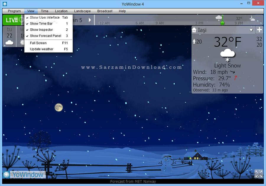 نرم افزار نمایش وضعیت آب و هوا (برای ویندوز) - YoWindow Unlimited Edition 4 Build 108 Windows