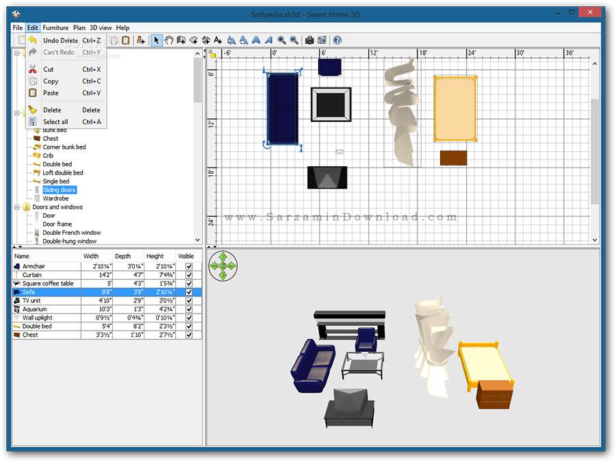 نرم افزار دکوراسیون خانه (برای ویندوز) - Sweet Home 3D 5.6 Windows