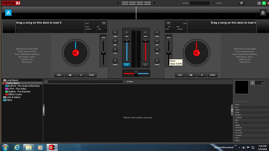 نرم افزار شبیه سازی دستگاه دی جی برای میکس آهنگ (برای ویندوز) - Virtual DJ Pro 8.3.4787 Windows