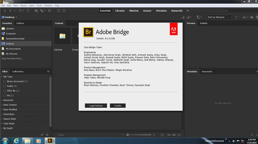 نرم افزار مدیریت حرفه ای عکس ها (برای ویندوز) - Adobe Bridge CC 2019 v9.1.0.338 Windows