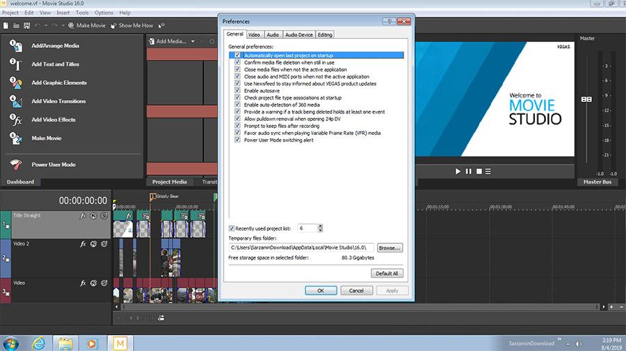 نرم افزار حرفه ای ویرایش فایل های ویدیویی (برای ویندوز) - Magix Vegas Movie Studio 16.0.0.138 Windows