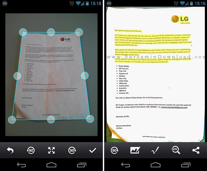نرم افزار اسکنر (برای اندروید) - CamScanner 4.0 Android