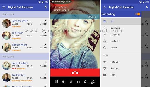 نرم افزار ضبط مکالمات (برای اندروید) - Digital Call Recorder Pro 3.75 Android