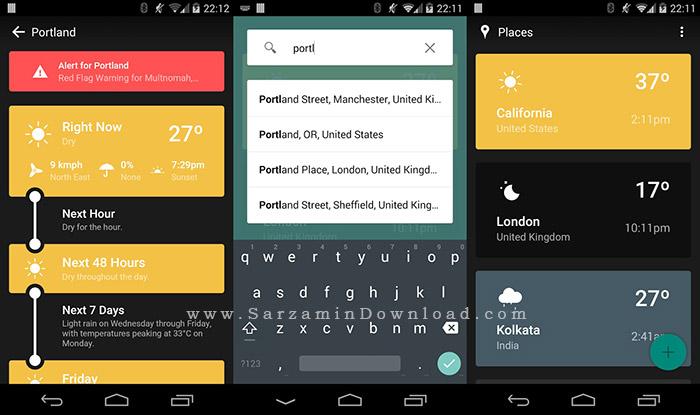 نرم افزار نمایش آب و هوا (برای اندروید) - Weather Timeline Forecast 1.6.5 Android