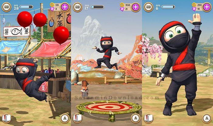 بازی نینجای سخنگو (برای اندروید) - Clumsy Ninja 1.21 Android