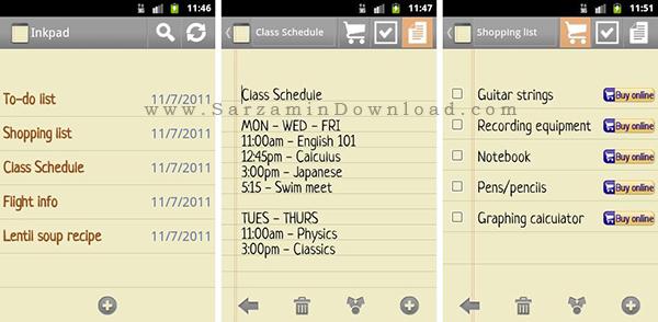 نرم افزار دفترچه یادداشت (برای اندروید) - InkPad Notepad 3.0.5 Android