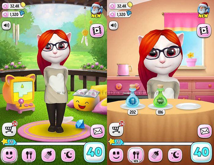 بازی گربه سخنگو (برای اندروید) - My Talking Angela 2.2.1 Android