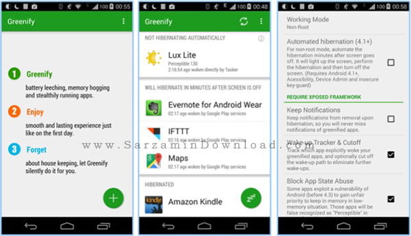 نرم افزار جلوگیری از اجرای برنامه ها (برای اندروید) - Greenify 2.8.1 Android