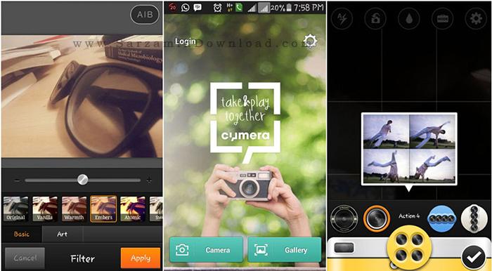 نرم افزار ویرایش تصاویر سایمرا (برای اندروید) - Cymera 2.6.2 Android
