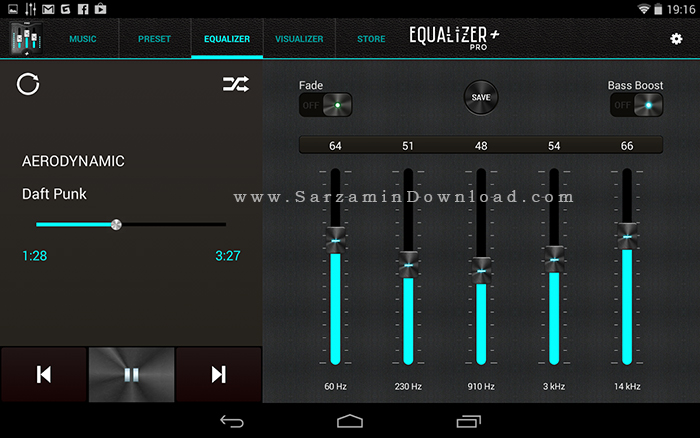 نرم افزار افزایش صدا (برای اندروید) - Equalizer 3.2.8 Android